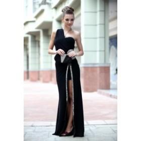 ワンショルダー ウエスト ビジュー タイト スリット ロング ドレス きれいめ セクシー 可愛い 美ライン パーティ 結婚式