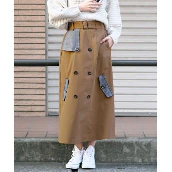アンドジェイ 異素材バイカラーAライントレンチスカート レディース モカ M 【ANDJ】