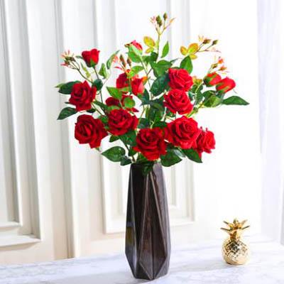 【單支模擬玫瑰花-玫瑰蕾-長約55cm-5枝-套-3套】假花乾花擺件家居裝飾品(可混)-5170852