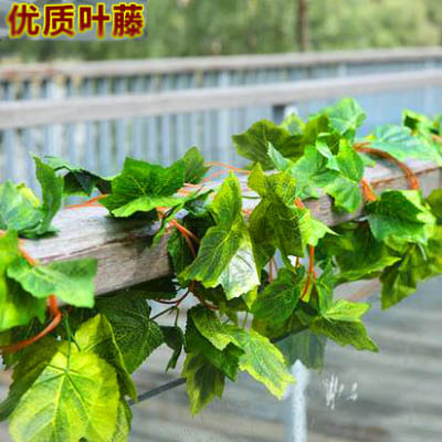 【模擬花藤-立體葡萄葉44片-長約260cm-6條-套-1套】管道植物吊頂室內壁掛-5170852