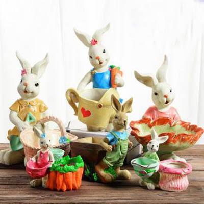 【可愛兔子多肉花盆-28號-多款可選-1款】樹脂花盆綠植物花盆拼盤仿陶瓷盆-5170851