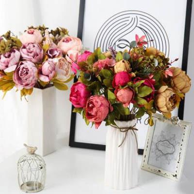 【模擬彩色牡丹絹花把束-長約48cm-1束】假花客廳裝飾花卉花束插花-5170852
