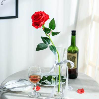 【單支模擬玫瑰花-貴妃玫瑰-長約50cm-5枝-套-1套】假花乾花擺件家居裝飾品-5170852