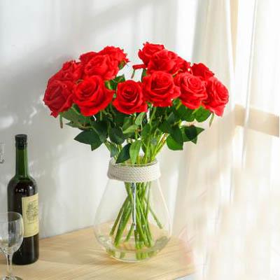【單支模擬玫瑰花-雪山玫瑰-長約50cm-5枝-套-2套】乾花擺件家居裝飾品(可混)-5170852