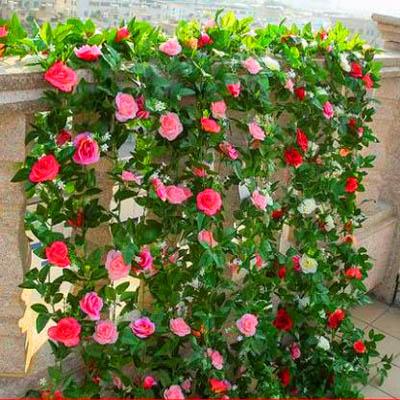 【模擬玫瑰花藤-33朵春色小玫瑰-長約220cm-2條】水管道飯店綠植模擬婚慶吊頂裝飾-5170852