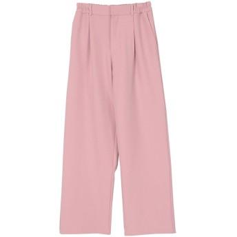 ユアーズ ur's フルレングスタックワイドパンツ (ピンク)