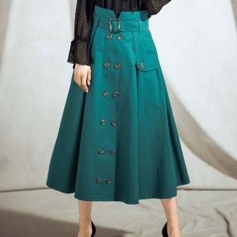 ジーラ バイ リュリュ GeeRa by RyuRyu 上品デザイントレンチスカート (グリーン)