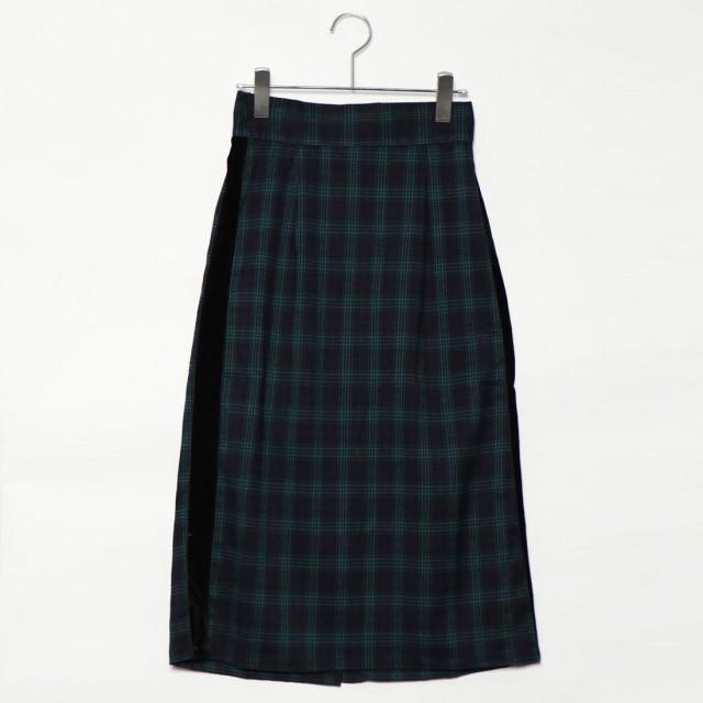 スタイルブロック STYLEBLOCK 先染めタータンチェックベロアラインスカート (グリーン)