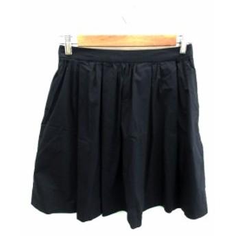【中古】アダムエロペ Adam et Rope' スカート フレア ギャザー ひざ丈 36 紺 ネイビー /NS37 レディース