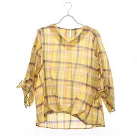 ベルーナ BELLUNA マドラスチェック素材裾タックブラウス (イエローケイ)