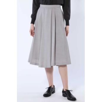 HUMAN WOMAN ツイルタックスカート ひざ丈スカート,グレー