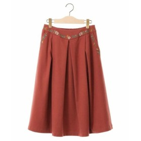 Jocomomola / ホコモモラ T/Rフラノストレッチ 刺繍タッキングスカート