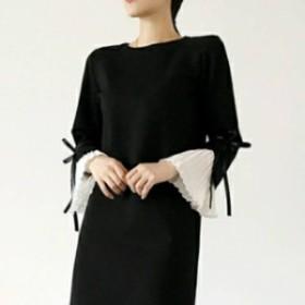 秋冬 異素材MIX ワンピース ニット素材 黒×白 膝丈 ドレス 結婚式 袖リボン オーバーサイズ
