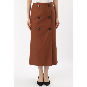 SACRA SACRA/サクラ フレンチサージトレンチ風スカート ミモレ丈・ひざ下丈スカート,ライトブラウン