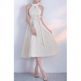 ドレス ワンピース ミモレ ウエストリボン 2way フェミニン パーティー お呼ばれ 結婚式 ホワイト ブラック 5116