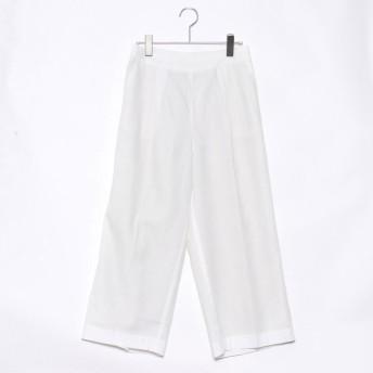 ベルーナ BELLUNA テンセル綿素材ワイドパンツ・55丈 (オフシロ)