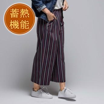ジーラ バイ リュリュ GeeRa by RyuRyu ポカポカ蓄熱機能付!極暖!裏起毛ワイドパンツ (ブラックマルチストライプ)