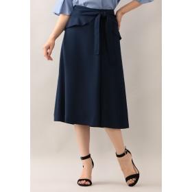 AMACA ポリエステルバックサテンラップフレアースカート その他 スカート,ネイビー