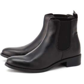 PUPE 【PUPE プーペ】サイドゴアレザーショートブーツ【38882】 ショートブーツ・ブーティー,Black(ブラック)