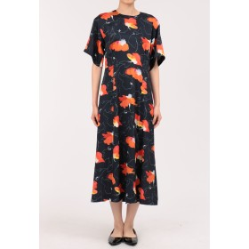 Laula フラワープリントドレス ワンピース,ネイビー×オレンジ