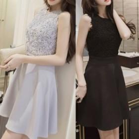 ドレス ワンピース 刺繍 切り替え フレア ミニ  Aライン お呼ばれ パーティー 結婚式 グレー 5179