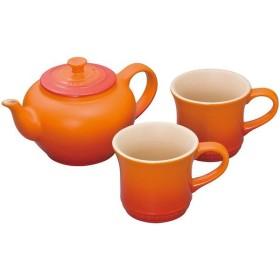 日本正規販売品 ル・クルーゼ 910296-00-09 ティーポット&マグ SS 2個入り オレンジ 9102960009