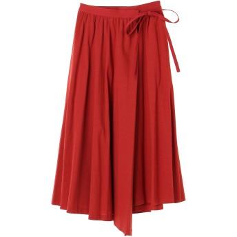 VONDEL フォンデル フォンデル プレミアムコットンラップスカート ひざ丈スカート,RED