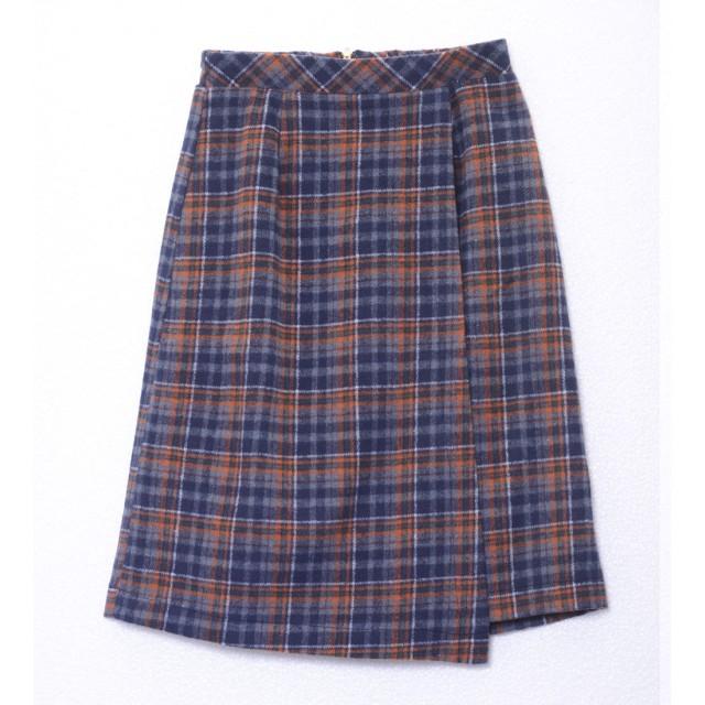 ジーラ GeeRA チェック柄ラップ風ひざ丈スカート (ネイビーケイ)