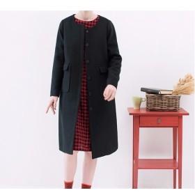 【L】シンプルなブラックウール混コートコート♪