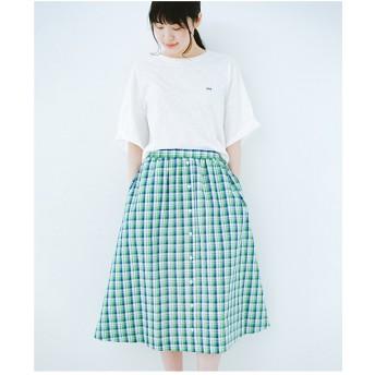 haco! 【mer8月号掲載】ドキドキした気持ちになりたい時の華やかチェックフレアースカート(グリーン)