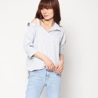 スタイルブロック STYLEBLOCK 先染めストライプアシンメトリーカラーシャツ (ネイビー)