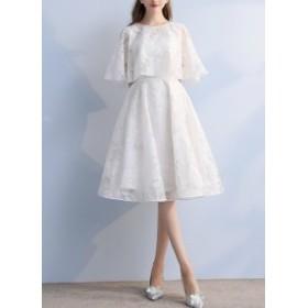ドレス ワンピース リーフ柄 シアー フェミニン 大人可愛い ひざ丈 お呼ばれ パーティー 結婚式 5150