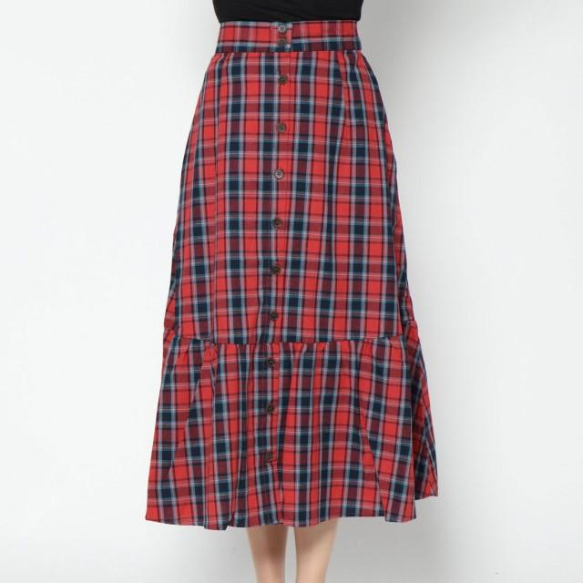 スタイルブロック STYLEBLOCK 先染めチェックロングスカート (レッド)