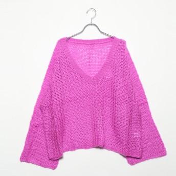 スタイルブロック STYLEBLOCK フレアスリーブVネックゆるニットセーター (ピンク)