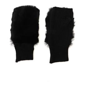 ALPO Alpo(アルポ) レッキスラビットファー フィンガーレスグローブ 手袋,ブラック