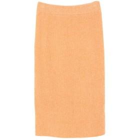 ティティベイト titivate ミディアム丈ニットタイトスカート (ライトオレンジ)