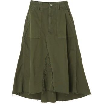 YANUK WOMEN YANUK(ヤヌーク) ベイカー フレアスカート /57183226 ミモレ丈・ひざ下丈スカート,グリーン