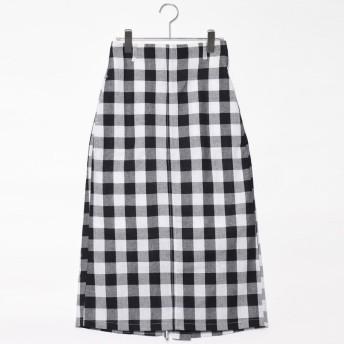 スタイルブロック STYLEBLOCK 先染めブロックチェックタイトスカート (ブラック)