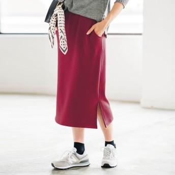 ジーラ バイ リュリュ GeeRa by RyuRyu 裏シャギースリット入りタイトスカート (ボルドー)