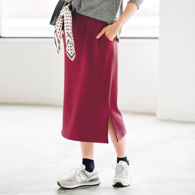 ジーラ GeeRA 裏シャギースリット入りタイトスカート (ボルドー)
