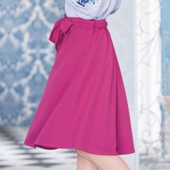 ジーラ バイ リュリュ GeeRa by RyuRyu リボンベルト付タックスカート (ピンク)