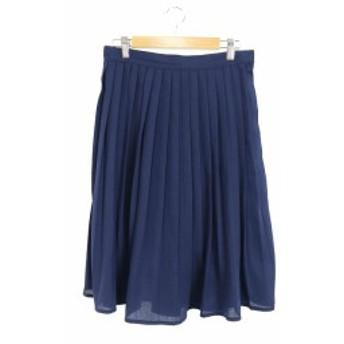 【中古】オゾック OZOC スカート プリーツ ミモレ ロング 38 紺 ネイビー /RI27 レディース