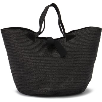 Caterina Bertini 【限定】グログランリボン ストローバッグ かごバッグ,BLACK/BLACK
