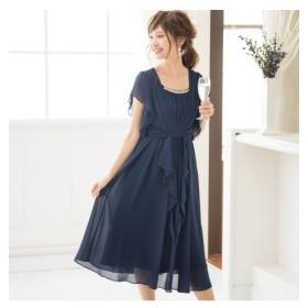 スマイルサイズ。タック&リボンが上品可愛いミモレ丈ワンピースドレス【結婚式。二次会。お呼ばれ対応】<大きいサイズ>