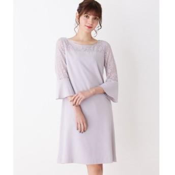 grove / グローブ レース切り替えフレア袖ドレス