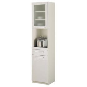 本州・四国は開梱設置無料 パモウナ 食器棚YC 幅40.4×高さ180cm YC-S400R プレーンホワイト キッチンボード ダイニングボード 代引不可