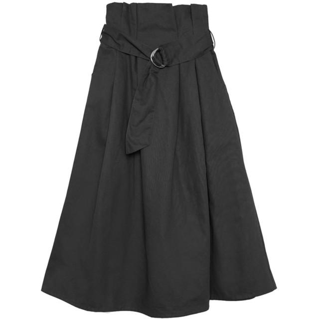 リエディ Re: EDIT ウエストベルトコットンチノフレアスカート (ブラック)