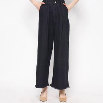 スタイルブロック STYLEBLOCK ブラックデニムハイウエスト裾フリンジワイドパンツ (ブラック)