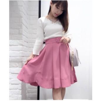 Noela 【Ray5月号掲載】ベルト付きカラーフレアスカート(サーモンピンク)【返品不可商品】