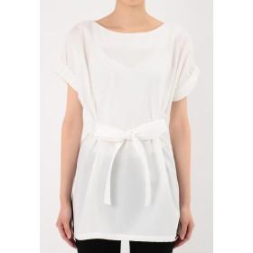 VONDEL サッシュ付きロングブラウス チュニック・ロングシャツ,WHITE